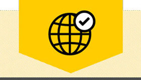 Pictogram of a globe with check